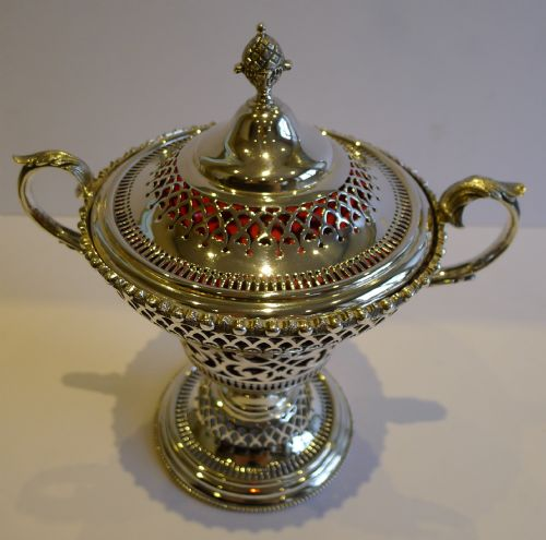 antique english silver plate cranberry glass lidded sugar box c1880 - photo angle #4