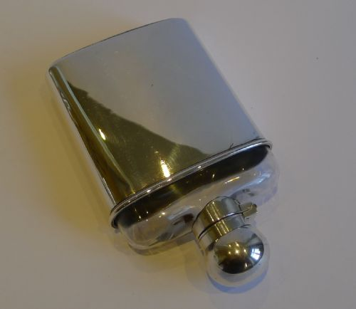 unusual antique english sterling silver glass hip or liquor flask 1900