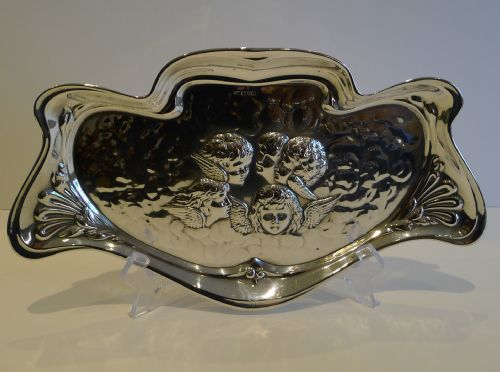 large antique english art nouveau sterling silver tray reynold's angels 1907