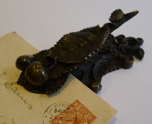 top quality antique french bronze letter note clip signed ch leblanc a paris c1860 - photo angle #8