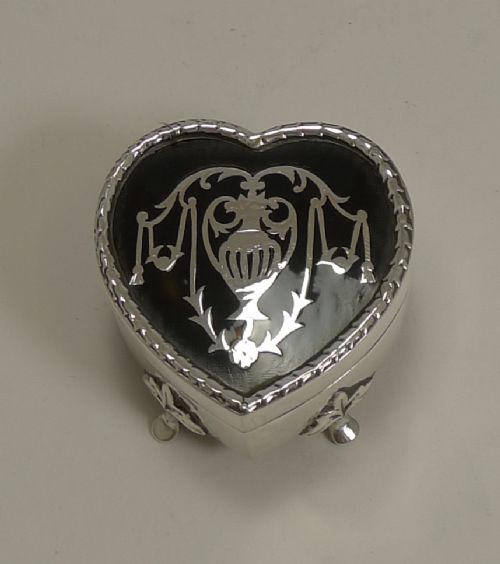antique english sterling silver and tortoiseshell heart shaped jewellery ring box