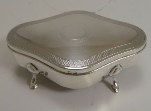 smart antique english sterling silver jewelry box engine turned decoration