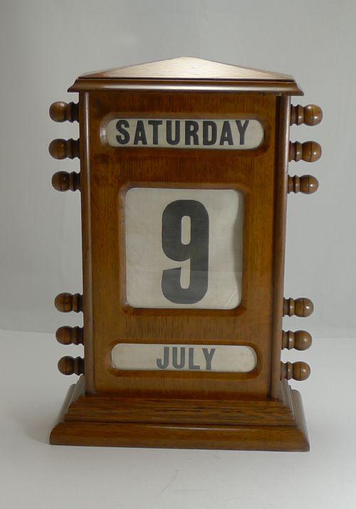 oversized 15 12 tall antique english perpetual desk calendar - Oversized (15 1/2