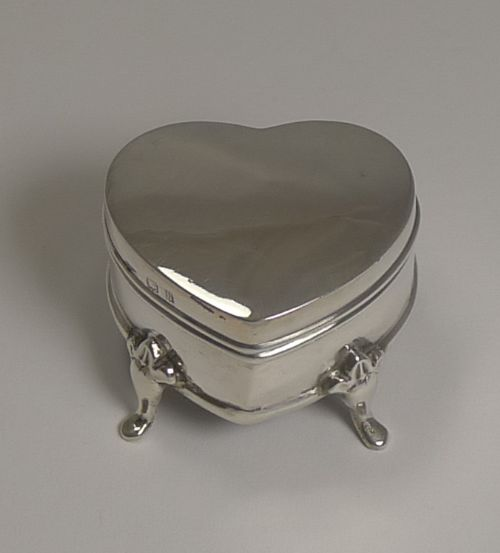 antique sterling silver heart ring box 1909