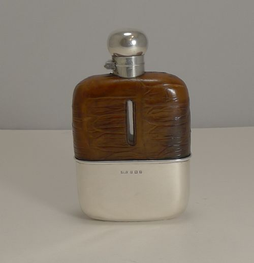 english sterling silver and crocodile skin hip flask 1929