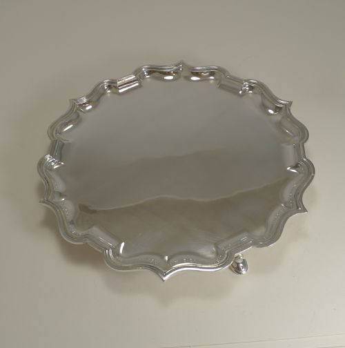 Antique English Sterling Silver Salver 20th Century Antiques