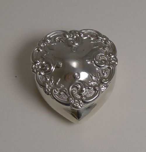 antique english heart shaped pill box in sterling silver 1905