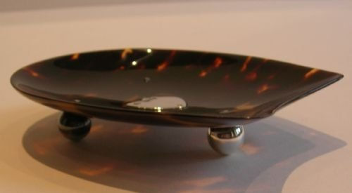 unusual horseshoe shaped tortoise shell and sterling silver dish tray - photo angle #2