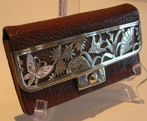 stunning antique silver mounted change purse card holder