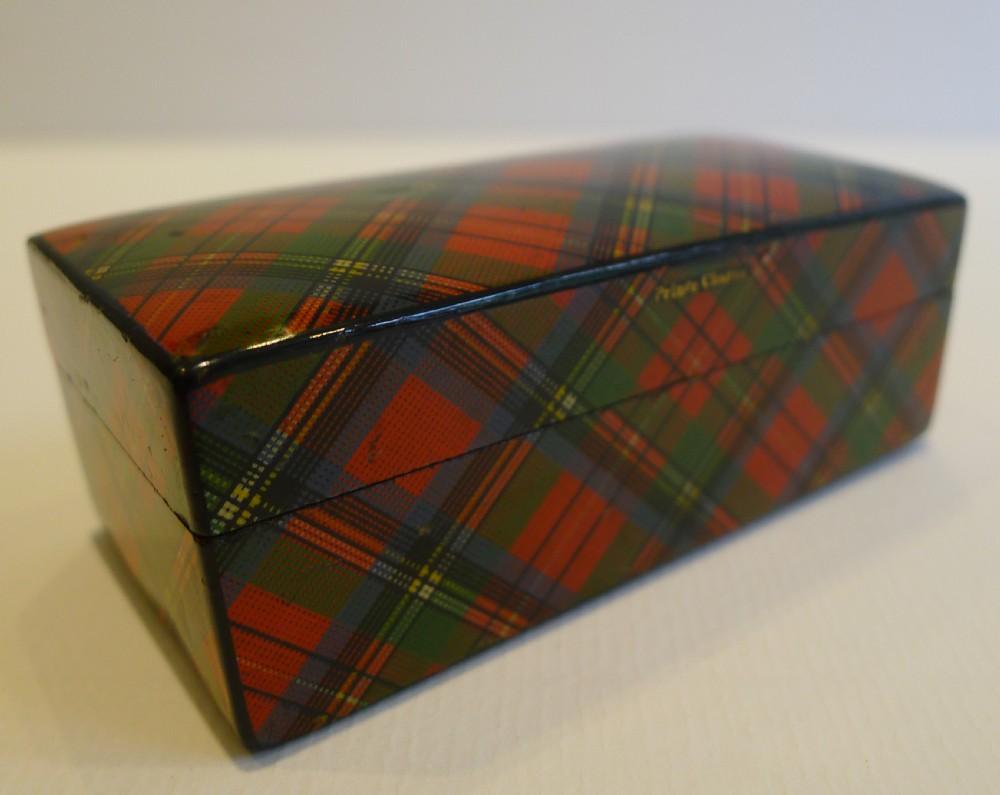 Antique Scottish Tartan Ware Spool Sewing Box In Prince Charlie C