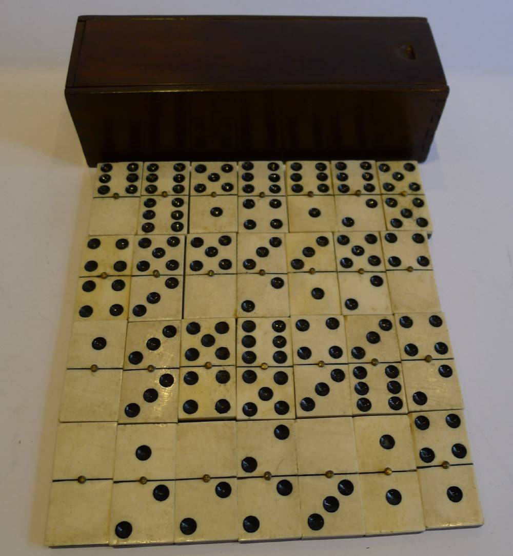 Antique English Boxed Set Bone Ebony Wood Dominoes C1890 241116