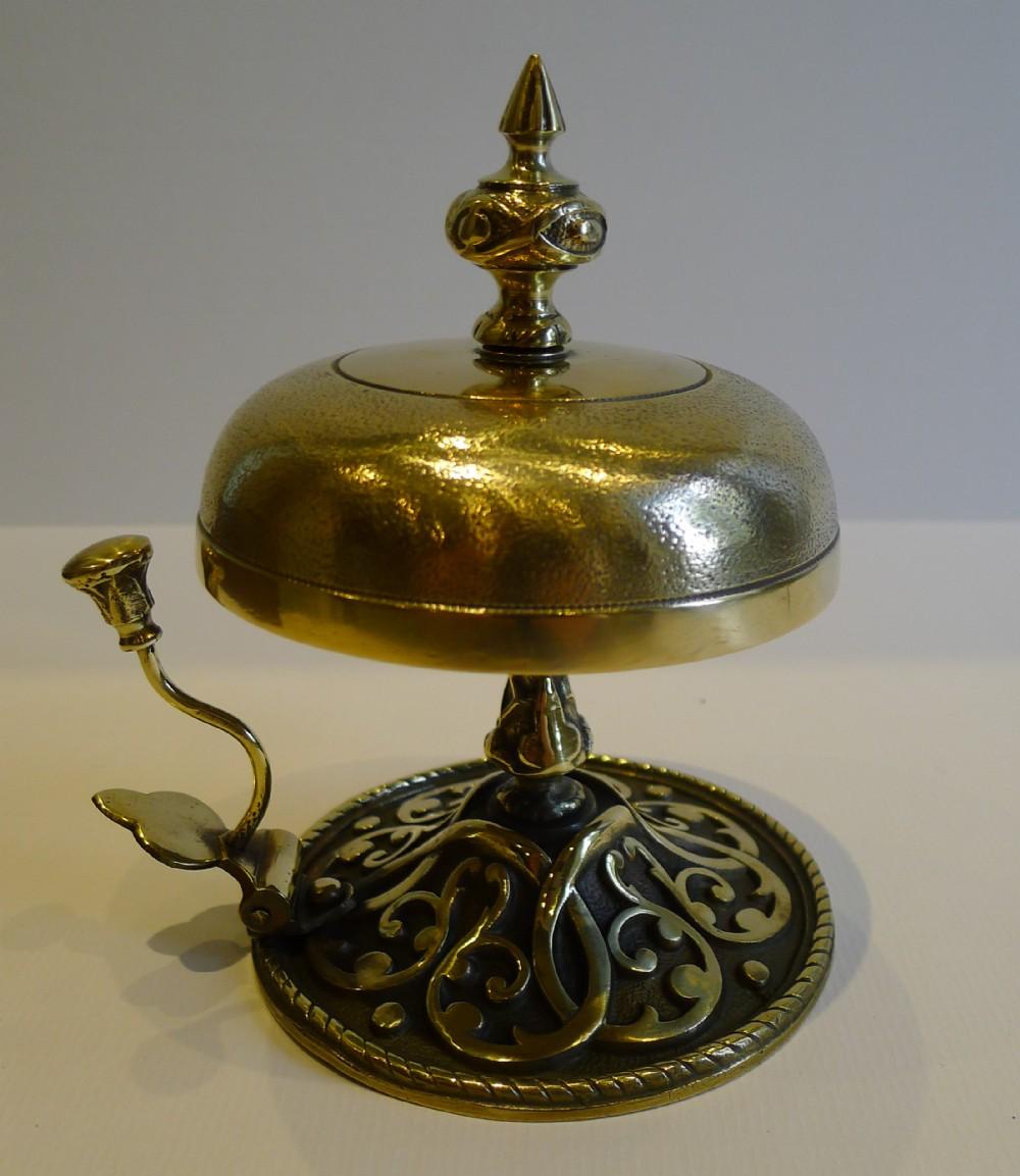 large antique english brass desk counter bell c1880 - Large Antique English  Brass Desk / Counter - Antique Desk Bell Antique Furniture