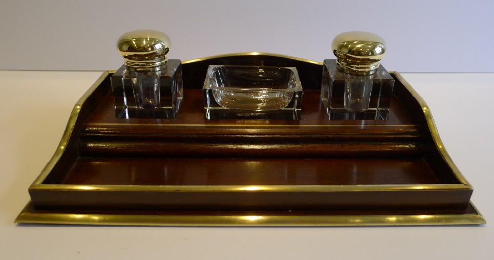 antique french mahogany brass inkstand desk set c1900 signed jm paillard  paris - Antique French Mahogany & Brass Inkstand / Desk Set C.1900 - Signed