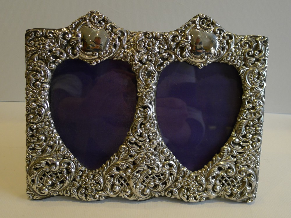 Antique English Sterling Silver Photograph Frame - Double Heart ...