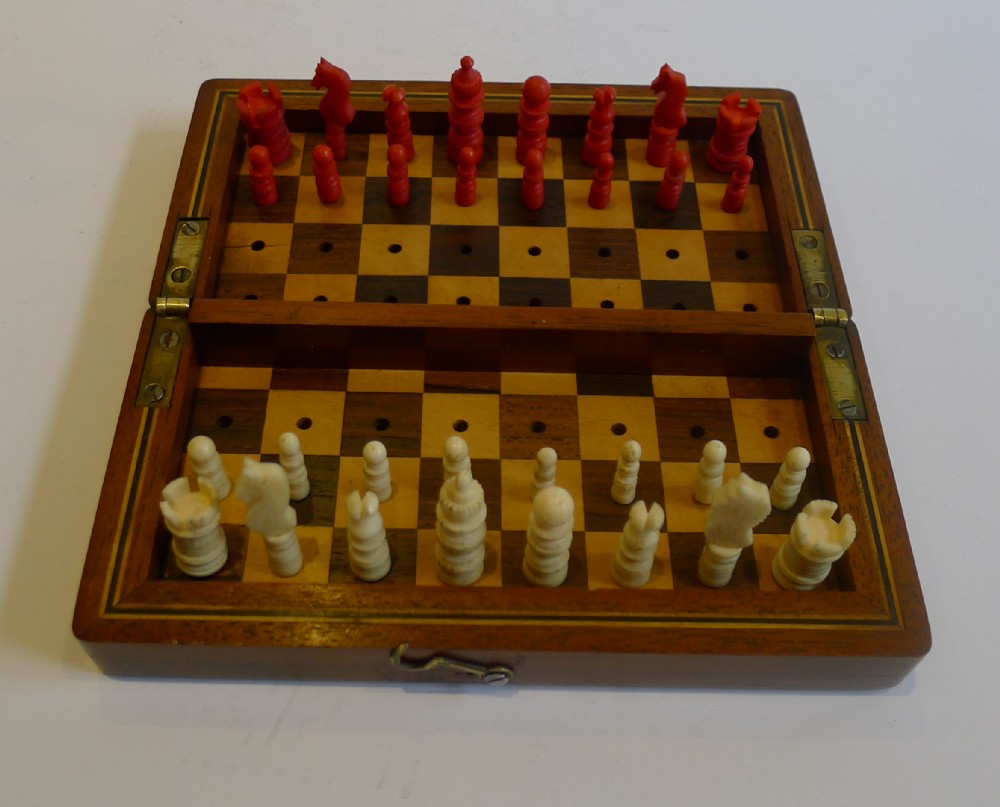 antique english mahogany travel chess set c1880