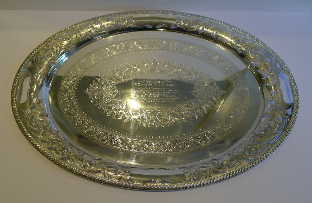 large antique english pierced or reticulated serving tray by jh potter c1890