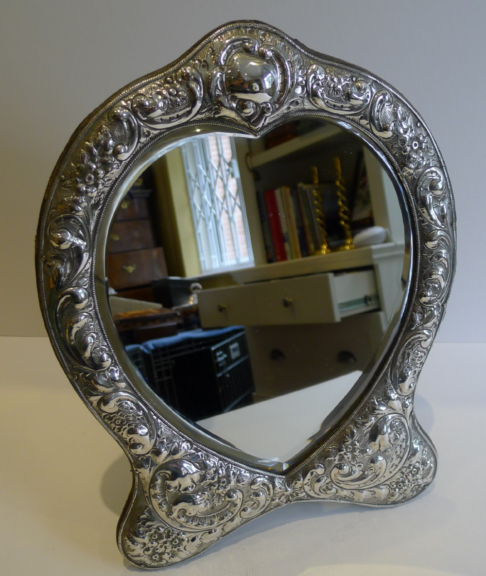 fabulous large antique english sterling silver mirror 1903