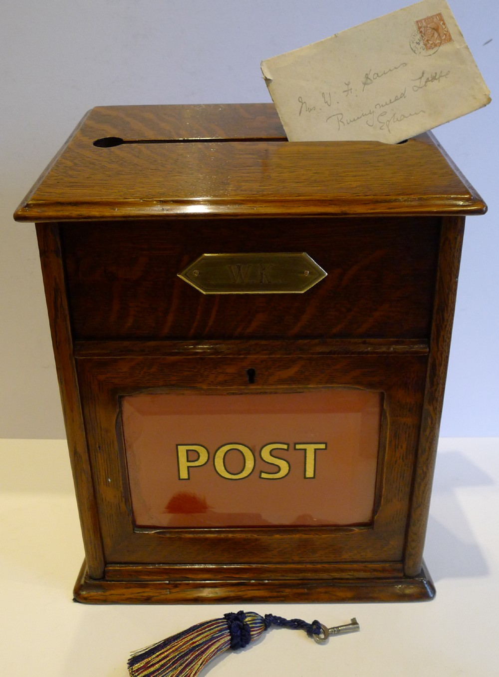 Antique English Oak Country House Post Of Letter Box C.1890