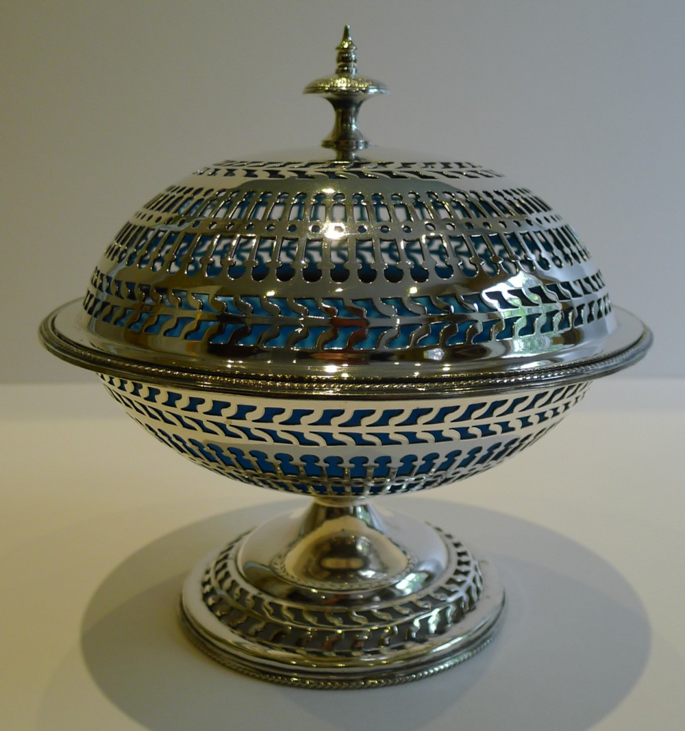 antique english silver pierced silver plate covered dish with original blue glass liner c1880