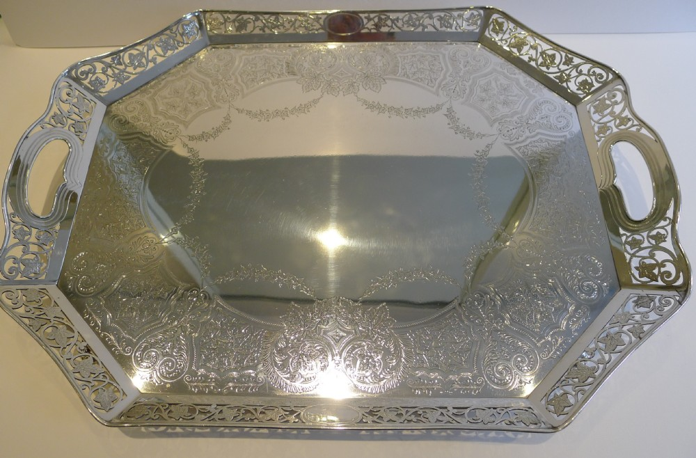 magnificent antique english reticulated serving tray by lee wigfull c1880