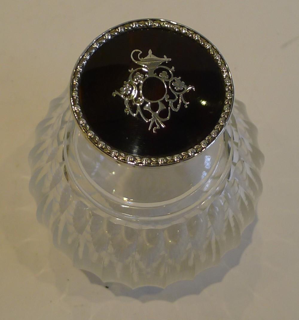 antique sterling silver tortoiseshell lidded perfume bottle 1910