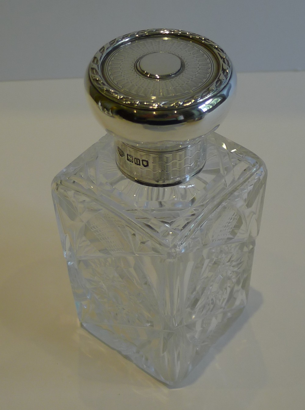handsome english cut crystal sterling silver perfume or scent bottle 1915