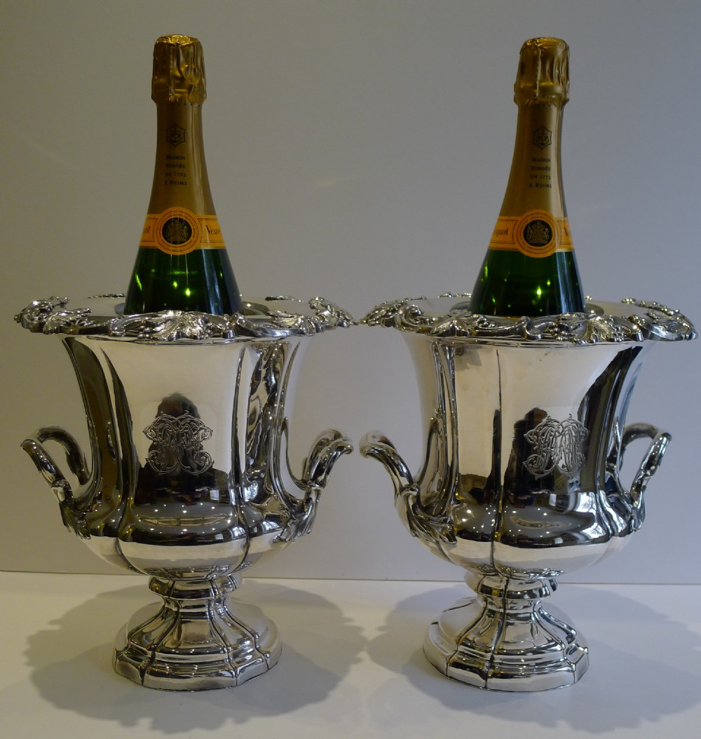 magnificent pair antique english old sheffield plate wine coolers c1820