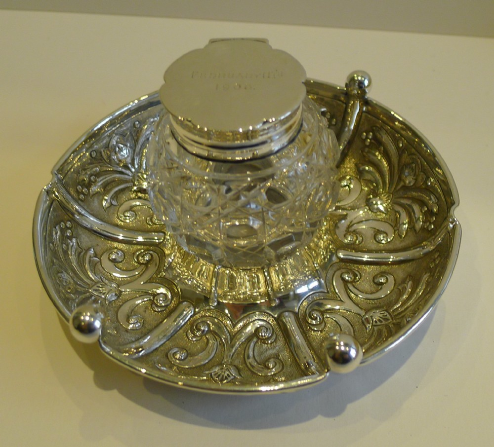 handsome antique english sterling silver inkwell 1906