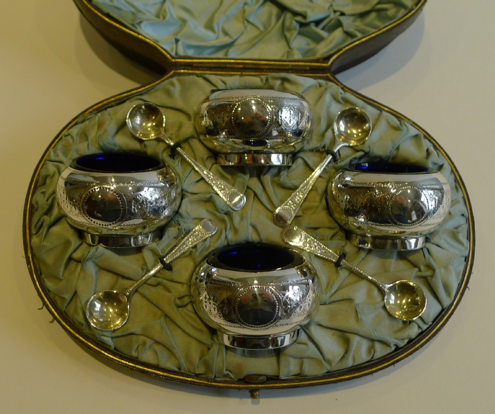 boxed set antique english sterling silver open salts spoons 1881