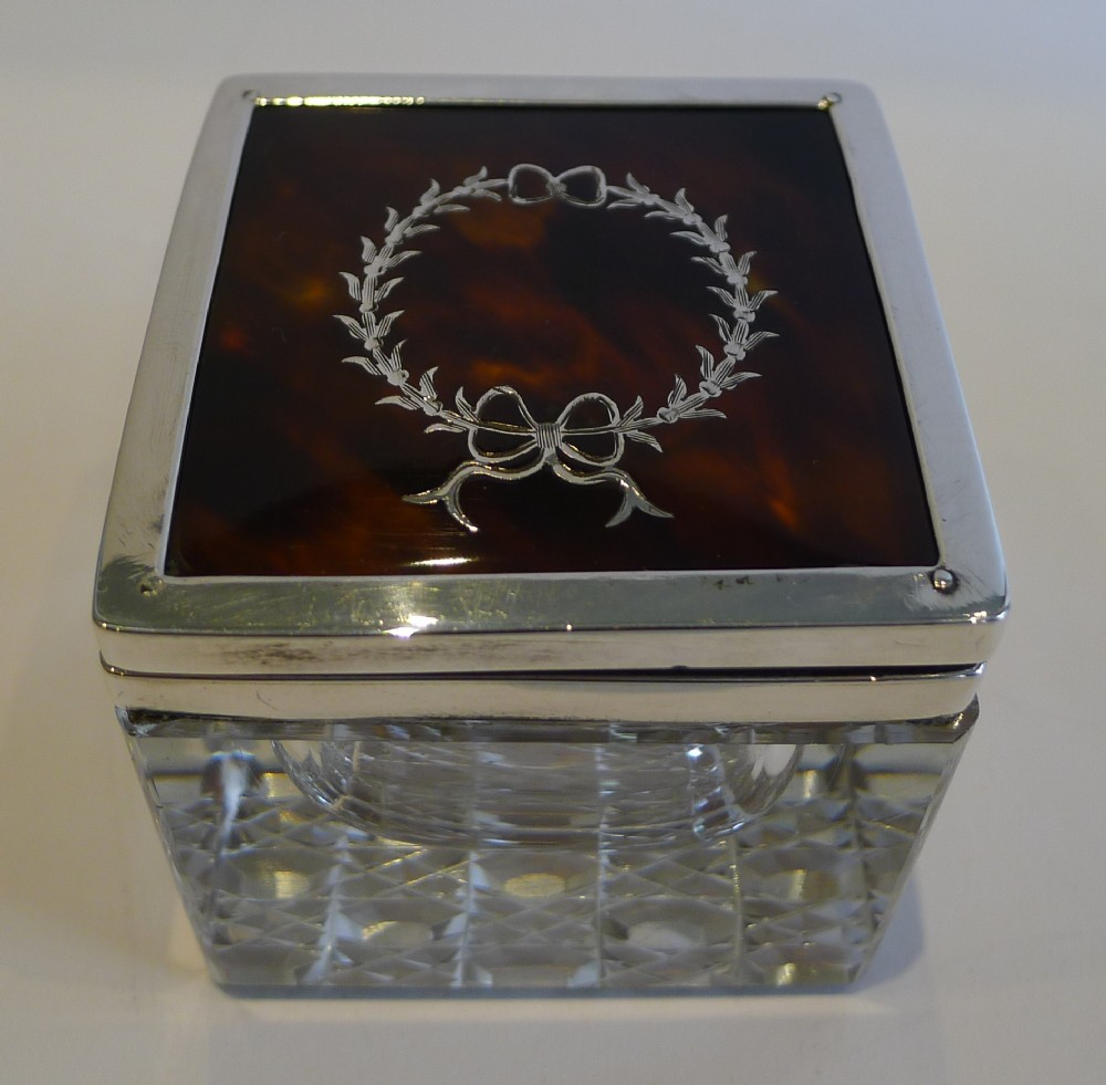 english sterling silver tortoiseshell topped inkwell 1919