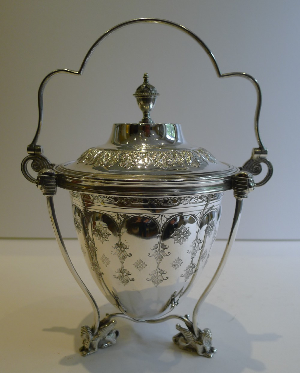 scarce antique english silver plated biscuit box or barrel c1880