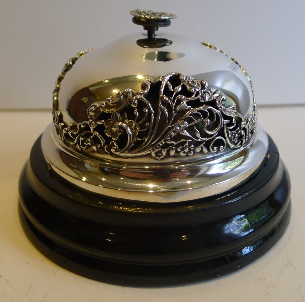 outstanding antique english sterling silver counter desk bell by william  comyns - Outstanding Antique English Sterling Silver Counter / Desk Bell By