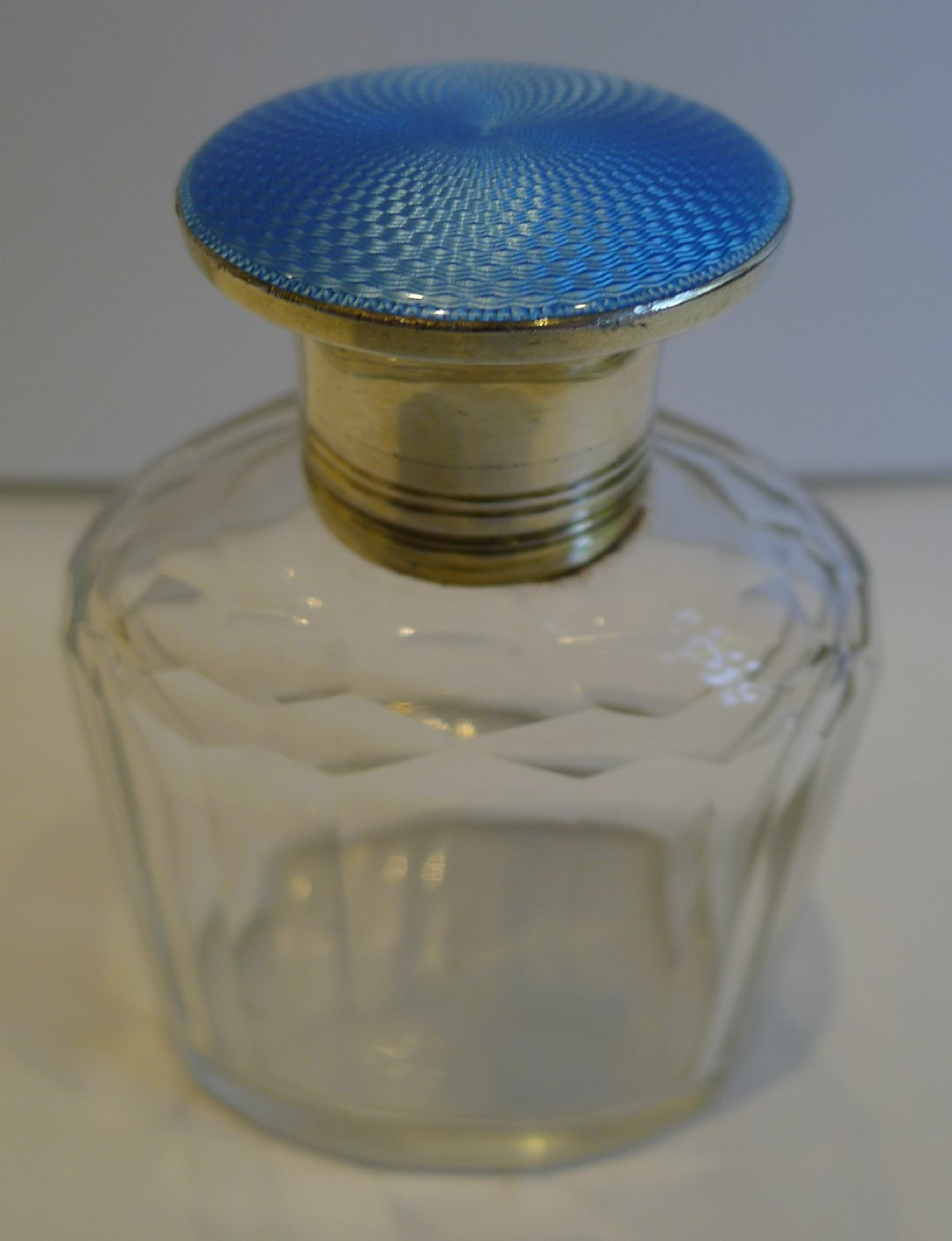 sterling silver blue guilloche enamel lidded cologne bottle 1929