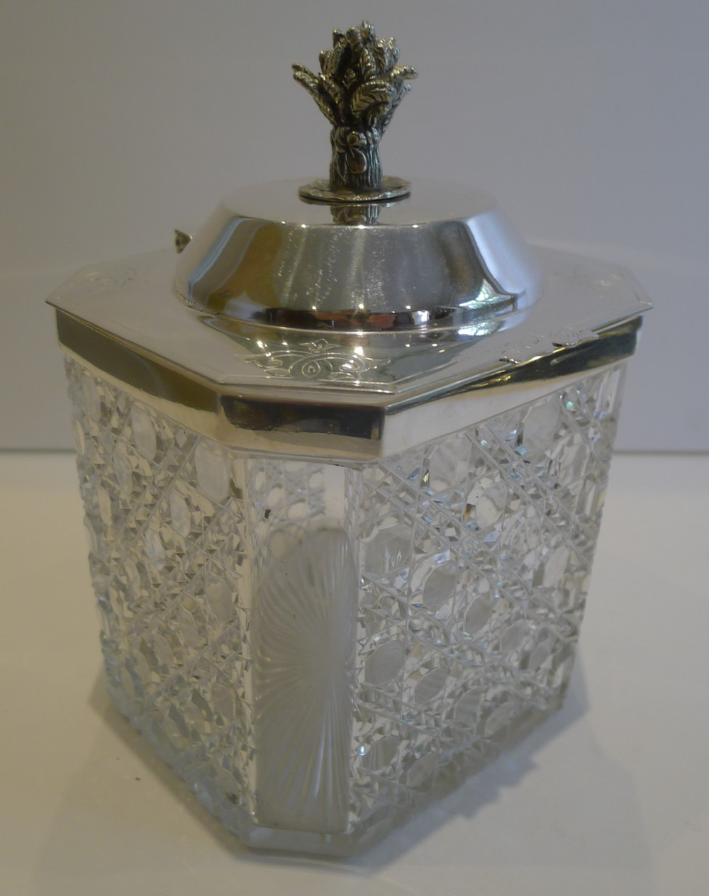 antique english cut crystal and silver plated biscuit box c1890