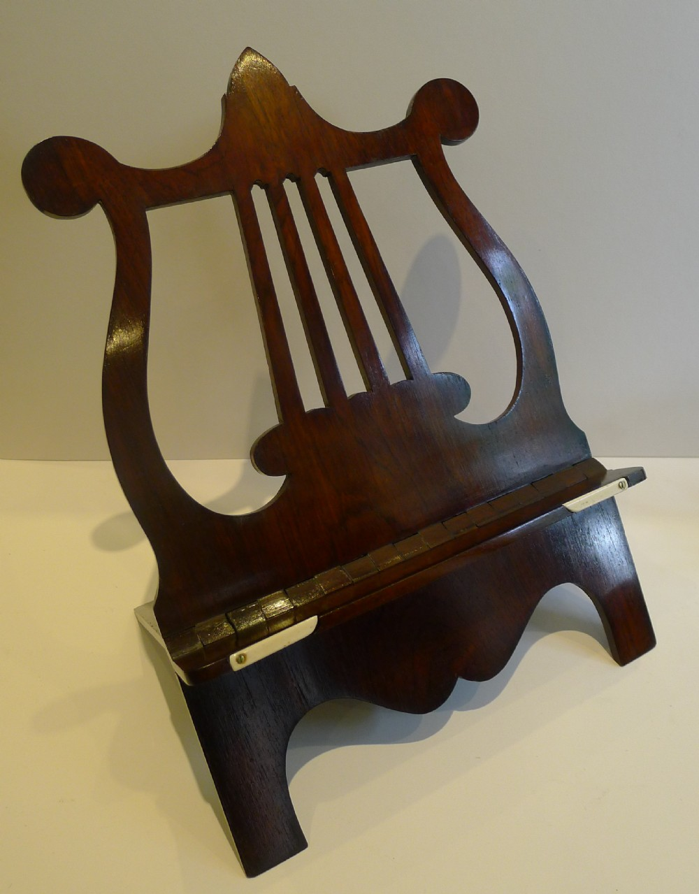 fine english regency lyre book or music stand lectern c1820