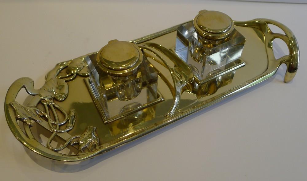 fabulous art nouveau geschutz double inkwell inkstand c1895