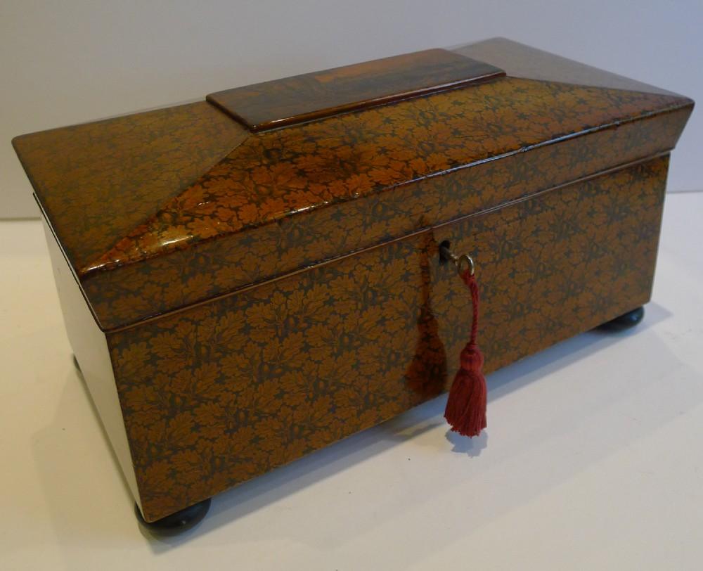 magnificent and rare scottish regency penwork tea caddy c1820 edinburgh