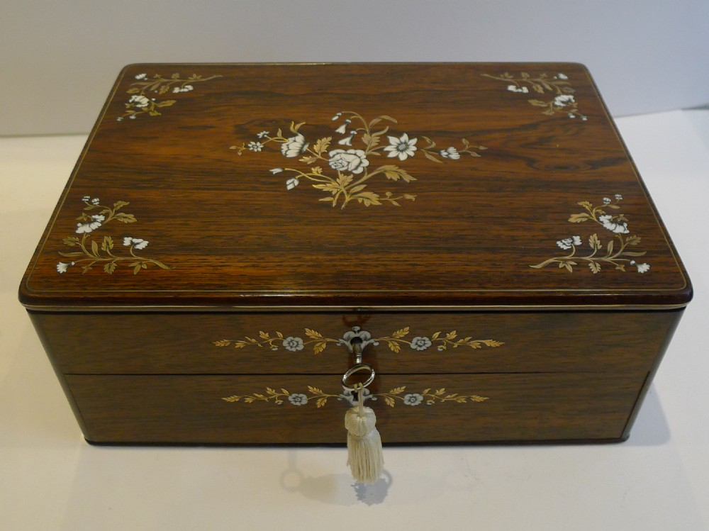 Exquisite Antique French Cut Brass And Ivory Inlaid Jewellery Box C