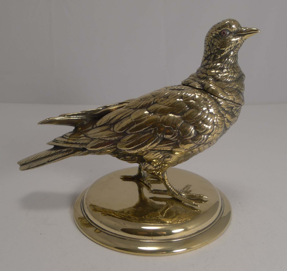 magnificent and impressive antique english figural inkwell dove c1880