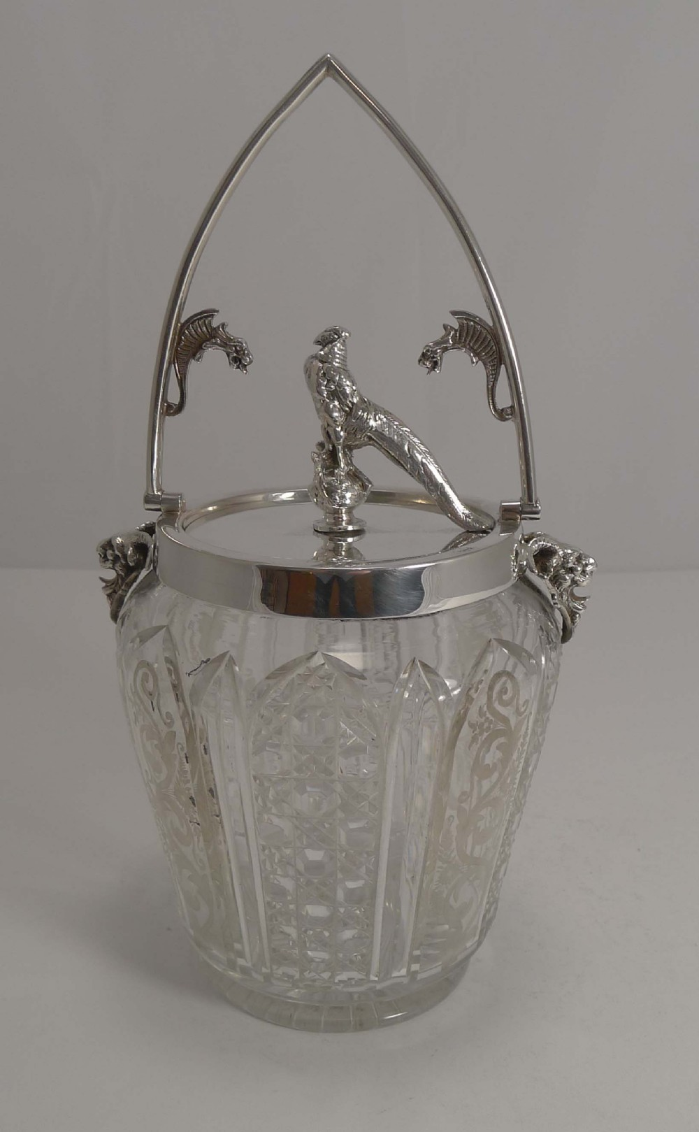 magnificent and unusual antique cut crystal and silver plated biscuit box c1880