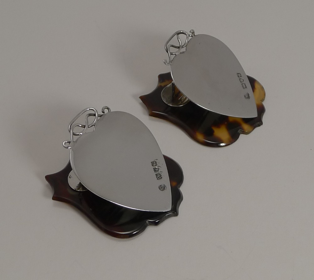 pair antique english sterling silver and tortoiseshell heart letter clips