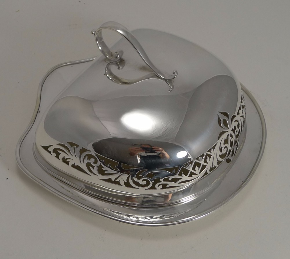 antique scottish silver plate and glass cheese dish and cover c1900