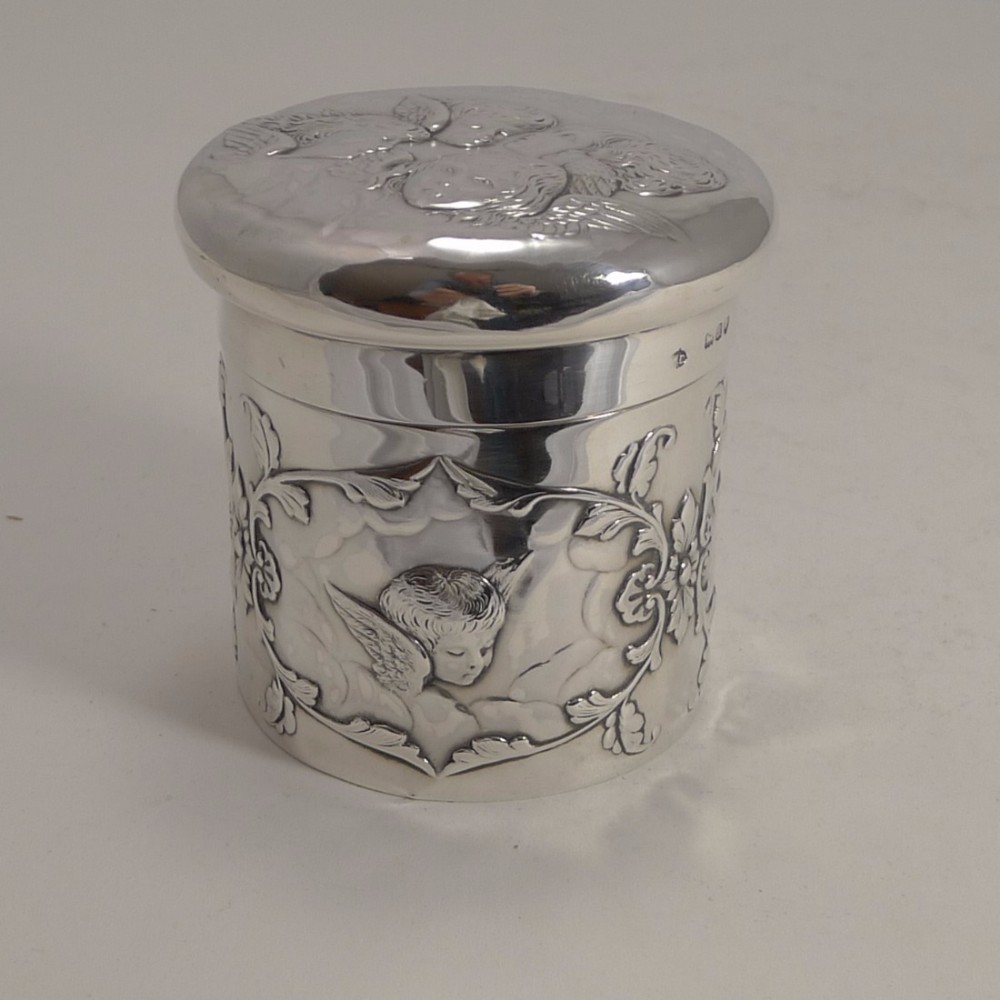 large victorian sterling silver dressing table box by william comyns reynold's angels