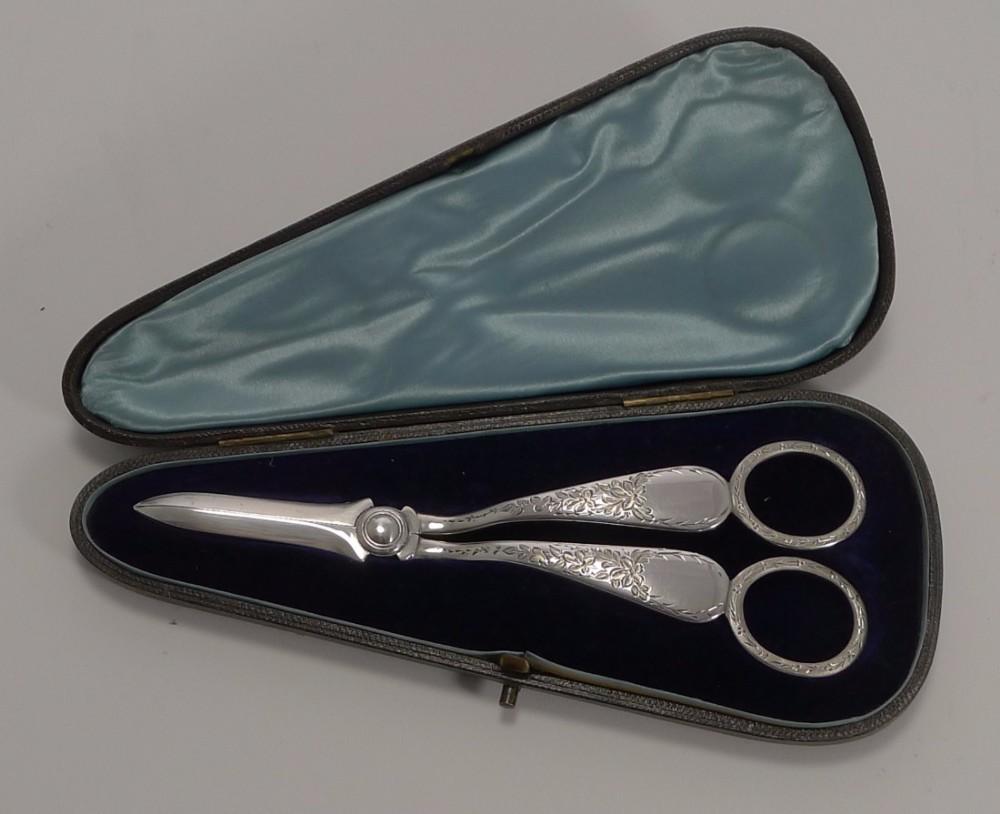 elegant pair english sterling silver grape shears 1891