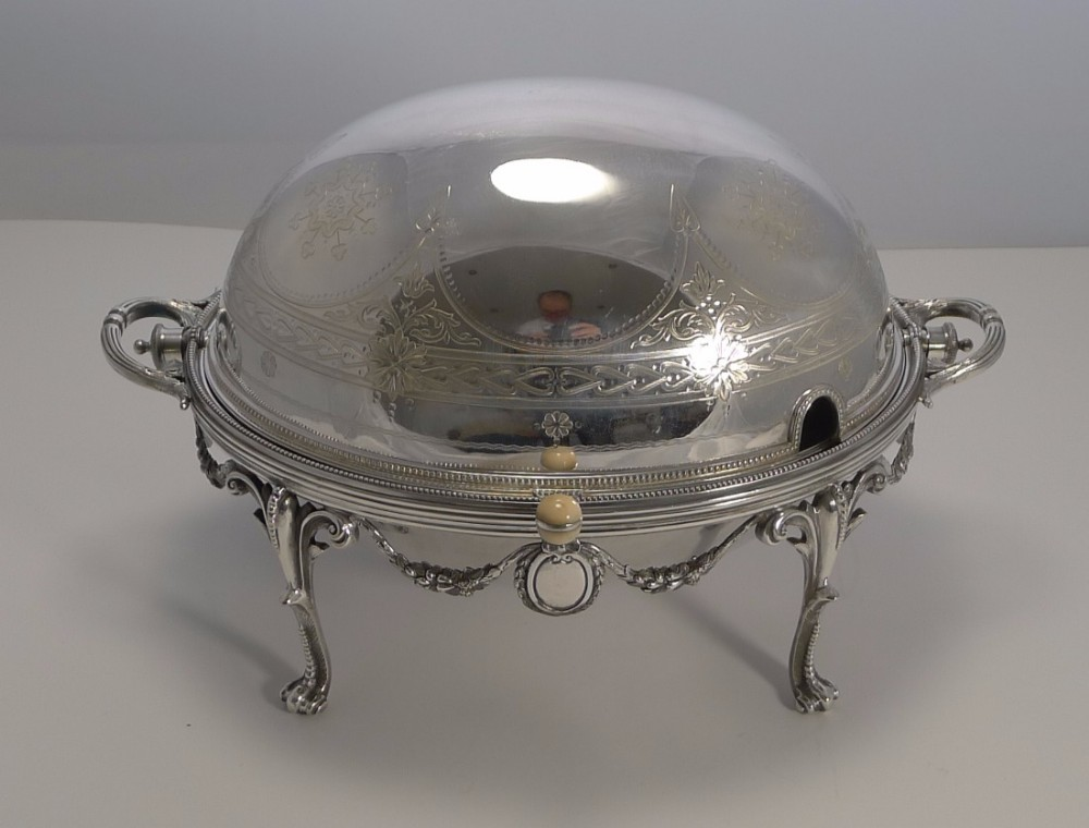 magnificent english silver plated revolving breakfast dish by walker and hall 1898