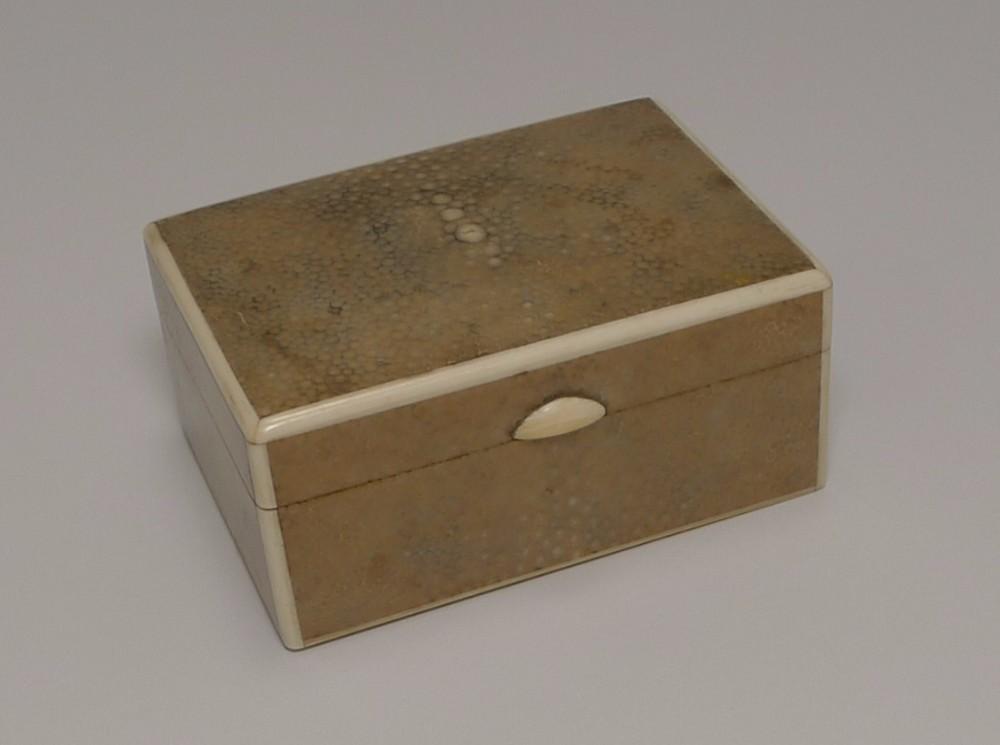 art deco shagreen and ivory box c1930