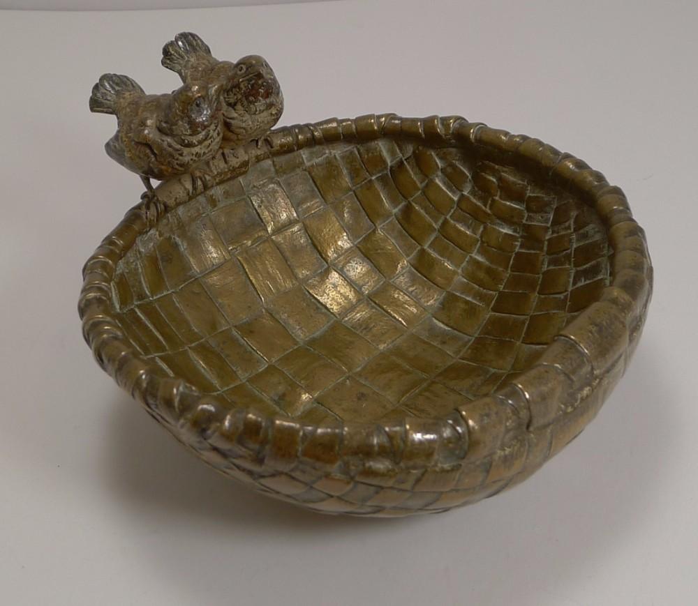 fabulous large antique vienna bronze bowl birds wrens c1880