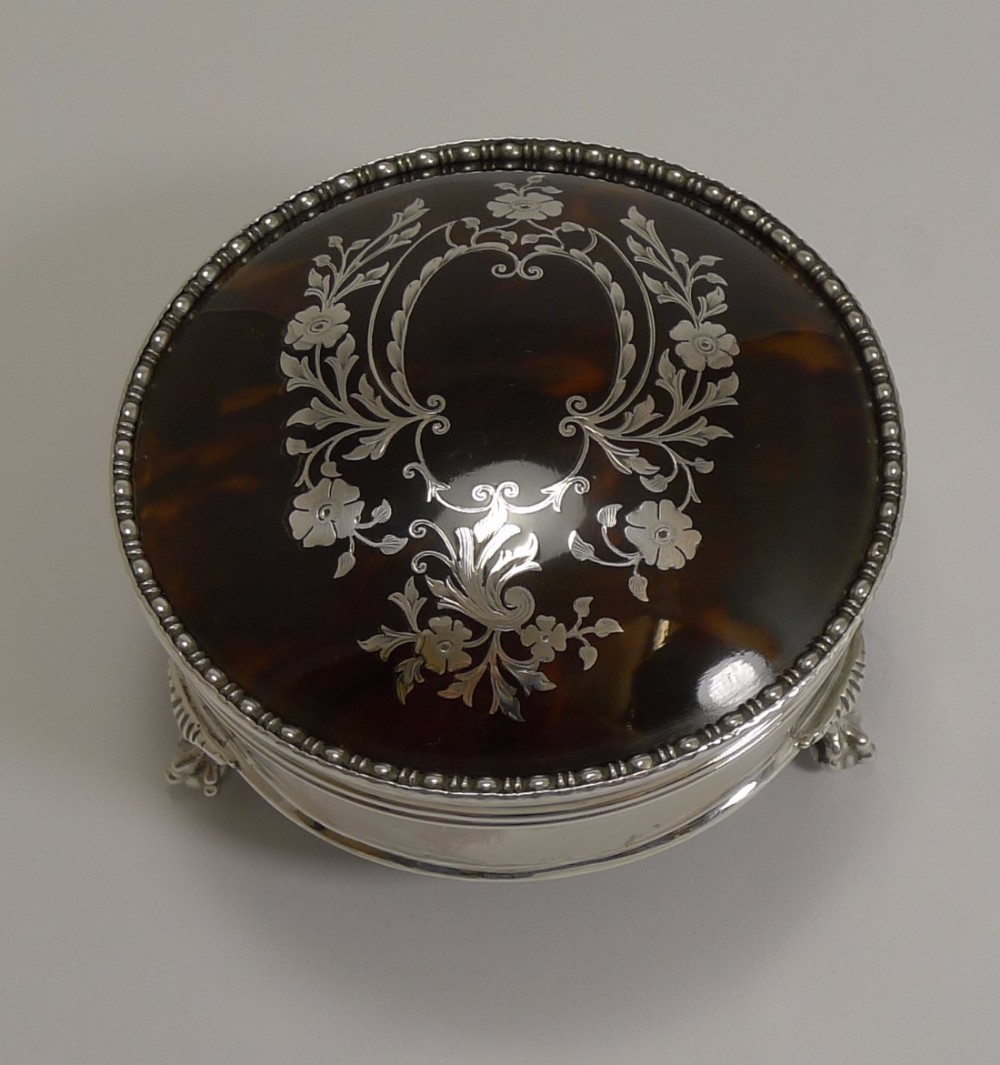 superb large antique english silver and tortoiseshell jewellery box
