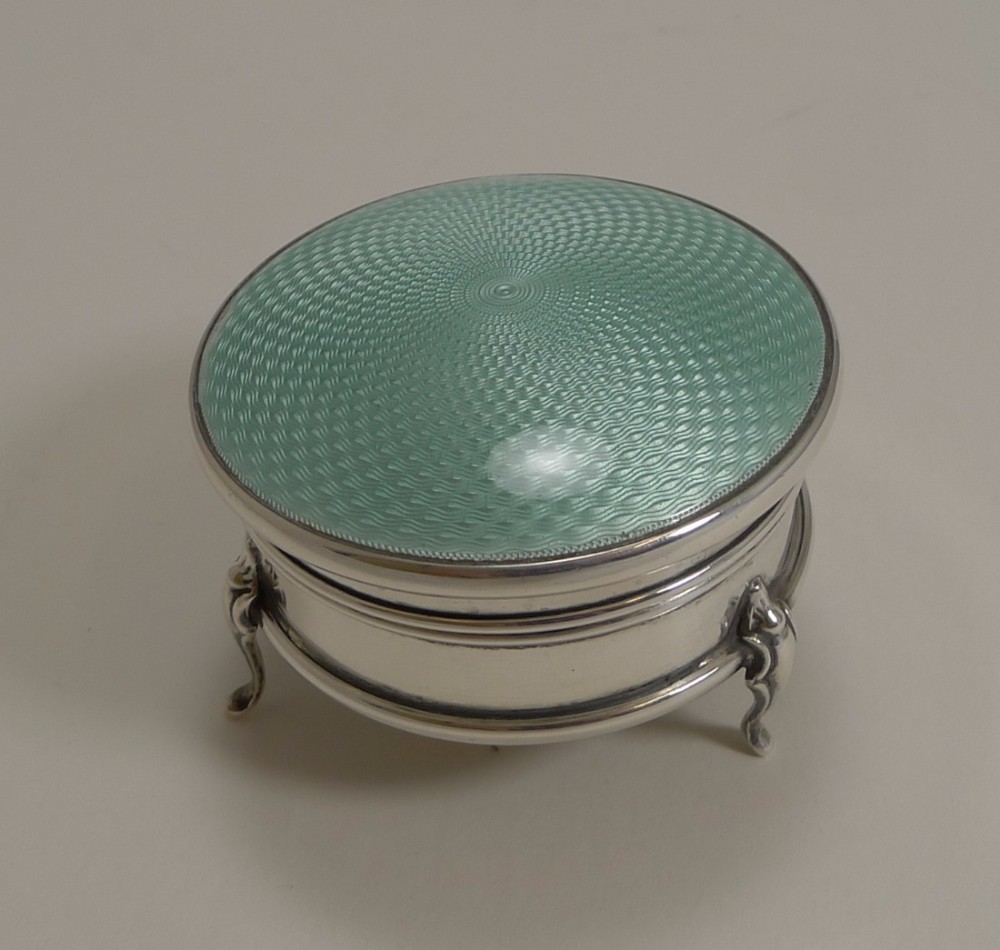 pretty english sterling silver and guilloche enamel jewellery ring box