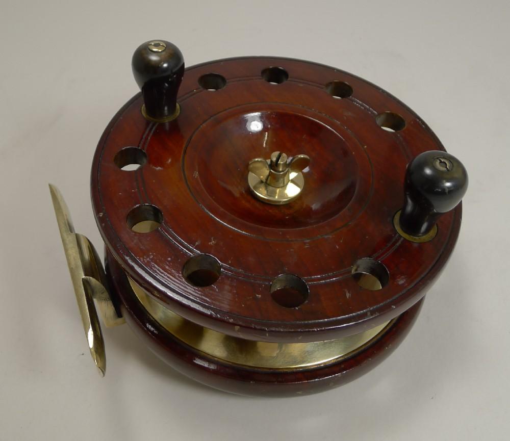 large 7 12 antique english mahogany and brass starback fishing reel c1910